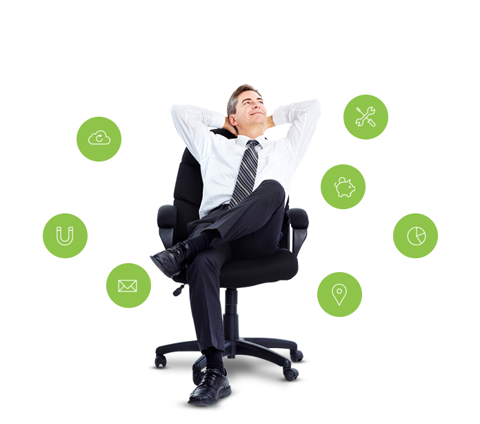 Executivo relaxando em sua cadeira
